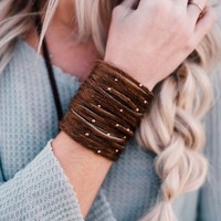 Studded + Sliced Wide Leather Cuff - Brown Hide