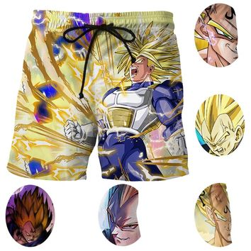 Vegeta Super Saiyan Print Men Surf Beach Shorts Mesh Thin Trunks 3D Print Dragon Ball Z Vegeta Cosplay Men Sports Short Pants