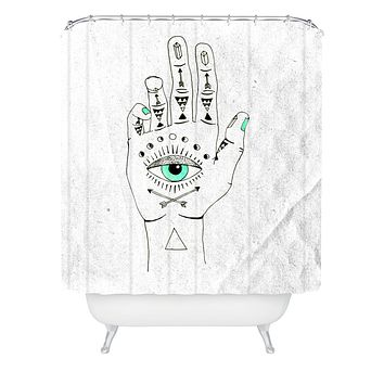 Wesley Bird Eye See Hamsa Shower Curtain