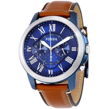 Fossil Mens FS5151 Chronograph Brown Leather Band Blue Dial watch