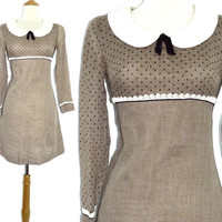 Vintage 90s Gay Gibson Babydoll Peter Pan Collar Polka Dot Empire Dress with Bow