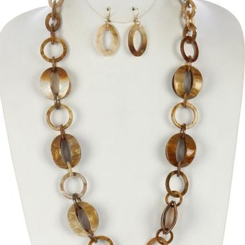 Turtoise Lucite Link Chunky Chain  32  1  Inch Drop Necklace Earring Set