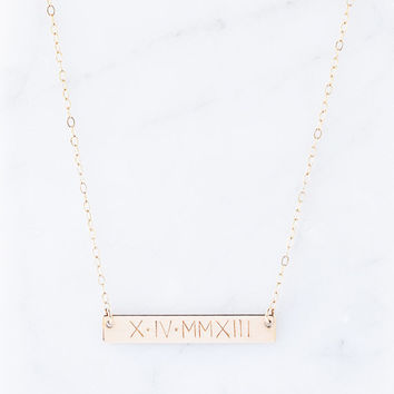 Wedding Date Necklace, Roman Numeral Necklace, Gold Bar Necklace, Personalized Necklace, Custom,Gold Fill / Sterling Silver / Rose Gold Fill