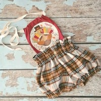 Baby Girls Thanksgiving Romper, Girls Turkey Romper, Thanksgving Day Outfit, Girls Buffalo Plaid Romper