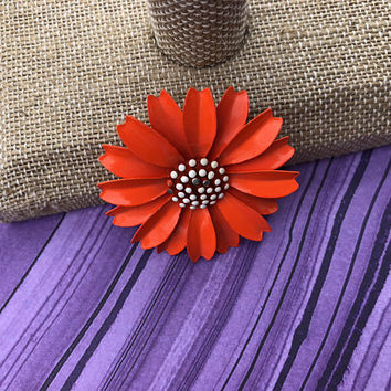 Bright Orange Colored Enamel Flower Brooch with White Center Flower Power Signed Crown Trifari Gold Toned Metal 1960s