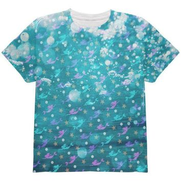 DCCKJY1 Mermaids Pearls and Starfish Pattern All Over Youth T Shirt