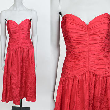 Vintage 90s Dress / 1990s Red Floral Silk Strapless Midi Dress S