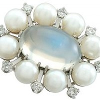 4.13 ct Moonstone and 0.32 ct Diamond, Cultured Pearl and 18 ct White Gold Clasp - Vintage Circa 1970