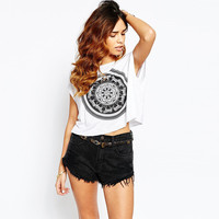 Animal Totem Print Short Sleeve Graphic Cropped Tee