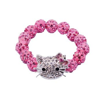 Handmade Hello Kitty pink Clay Zircon Baby Pink Bracelets for Girl Kids Rope Beads Chain Wrap Charm Elastic Bangles party gift