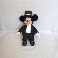 Vintage 70s MICKEY MOUSE Tuxedo Cute Toy Collectible Applause Plastic Face DISNEY Doll
