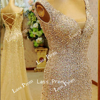 Sexy backless long dress  sequins beads dress  Prom Dress,Evening Dress,Graduation Dress,Formal Dress
