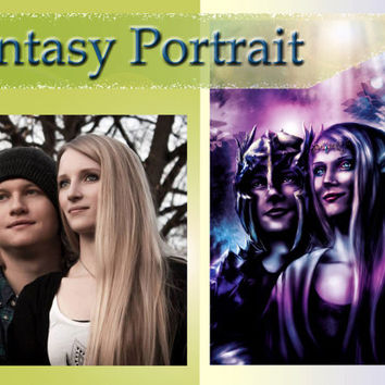 Fantasy Portrait (2 persons), Custom Fantasy Portrait, Fantasy commission, inimitable painting, personal digital Painting