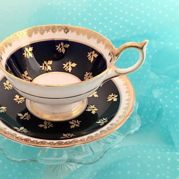 Vintage Aynsley Tea Cup, Bone China Teacup Set, Navy Blue Gold Tea Cup, Hollywood Regency, Bridal Shower Tea, High Tea, Birthday Gift