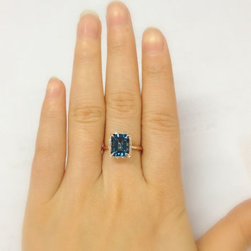 8x10mm London Blue Topaz Engagement Ring 14K Rose Gold!Diamond Wedding Bridal Ring,Emerald Cut VS Natural Gemstone,Custom make Matching Band