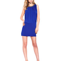 Women's Apparel | Holiday Attire | Jewel Collar Jersey Blouson Dress | Lord and Taylor