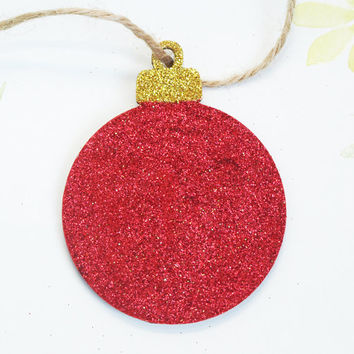 Christmas Bauble, Traditional Bauble, Wooden Decoration, Glitter Ornament, Hanging Decoration, Red and Gold, Festive Decoration, Holidays