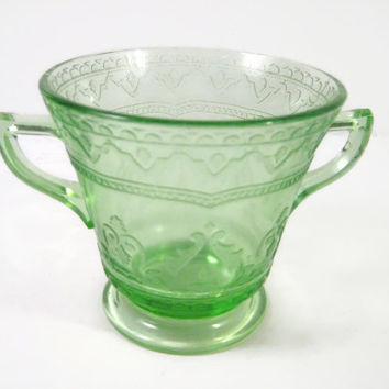 Depression Glass Open Footed Sugar Bowl Green Glass Spoke Pattern