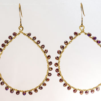 Large Hoop Earrings - Brass with Crystals