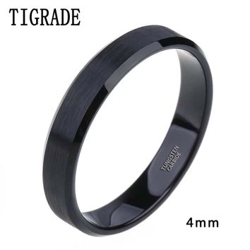 4mm 6mm 8mm Black Tungsten Cardide Ring Men High Polished Edges Wedding Band Engagement Rings For Women Male Jewelry Comfort Fit