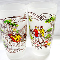 Tumblers Currier & Ives Hunt and Horse Scene Frosted Glass