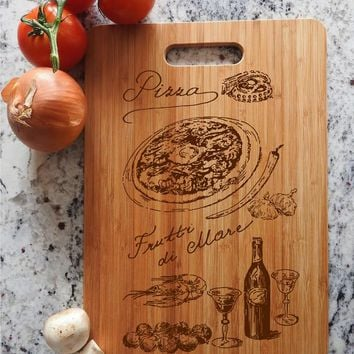 ikb3 Personalized Cutting Board Wood Pizza Italian food kitchen pizzeria