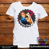 Burgundy & White Fighting Strong Rosie The Riveter Shirts (Head and Neck Cancer and Throat Cancer)
