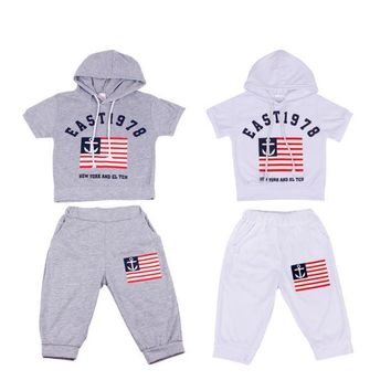 New Summer Children Clothing Boys Hooded T-shirt And Pants Suits