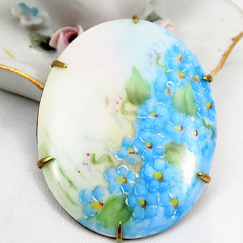Hand Painted Porcelain Brooch, Antique, Forget Me Nots, Gold Wash, Vintage Jewelry