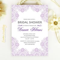 Bridal Shower Invitation - Purple victorian lace weding shower invitation printed on luxury pearlescent paper