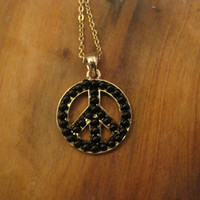 Peace Sign Black Beaded Necklace - Black Beaded Necklace