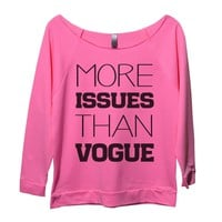 More Issues Then Vogue Womens 3/4 Long Sleeve Vintage Raw Edge Shirt