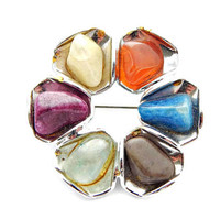 Polished Multi Gemstone Brooch Modernist Blue Purple Orange Yellow Off White and Brown on Silver Tone