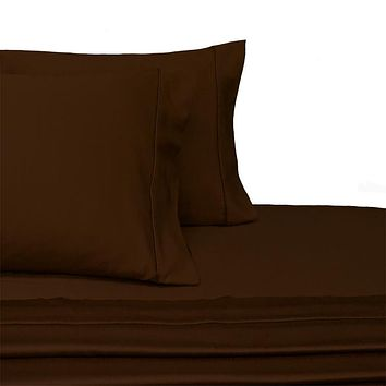Olympic Queen CHOCOLATE 300 Thread count Solid 100-Percent Combed cotton