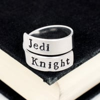 Jedi Knight Ring - Star Wars - Adjustable Aluminum Wrap Ring