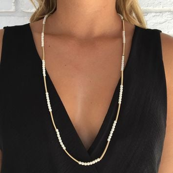 Aphrodite Gold Pearl Necklace