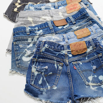 YOUR SIZE Vintage LEVI Bleached Denim Cutoff Shorts  Blue 1970s Distressed Highwaist CUSTOM High Cut Jean Shorts
