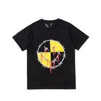 HCXX 19July 582 Vlone clot Smile Graffiti Print Classic Cotton short Sleeve T-Shirt