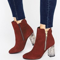 Faith Boston Zip Marble Detail Heeled Ankle Boot at asos.com