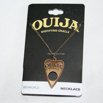 "Licensed cool Ouija Board Planchette ""Mystifying Oracle"" Antique Gold Tone Pendant Necklace"
