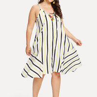 Striped Lace-Up Cami Dress