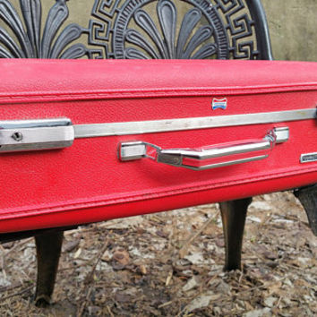 Vintage Red American Tourister Tiara 24 inch Suitcase