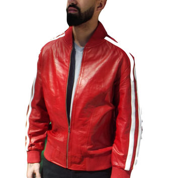 Mens Leather Jacket Red Track Celebrity Style ( Pharrel Williams ) Nappa Sheepskin