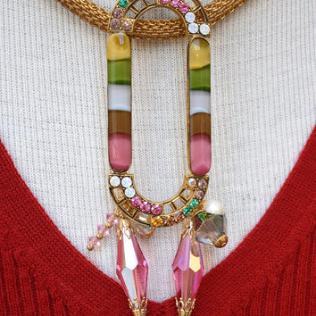 Enamel & Rhinestone Buckle on Mesh Chain Necklace Vintage Assemblage