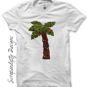 Iron on Palm Tree Shirt PDF - Christmas Outfit Iron on Transfer / Summer Christmas Shirt / Palm Tree with Lights / DIY Kids Clothing IT325-C