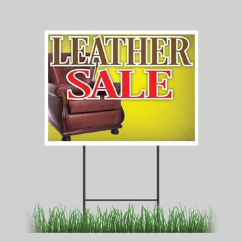 """18""""x24"""" Leather Sale Yard Sign Furniture Couch ChaiRD Store Retail Sign"""