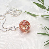 Queen Anne's Lace Resin Orb  Necklace  - Pressed Flower Jewelry, Botanical Pendant, Real Flower Encased in Resin, Reiki charged