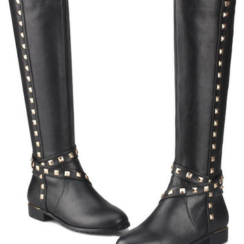 Women Autumn Winter Flats Genuine Leather Rivets Side Zipper Round Toe Fashion Casual Knee High Boots Size 34-39 SXQ0826