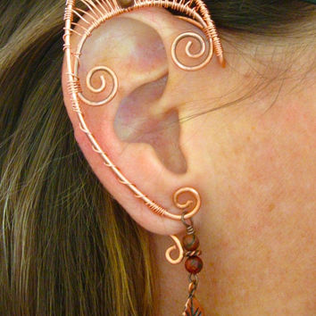 Pair of Copper Woven Wire Elf Ear Cuffs with Red Creek Jasper and Copper Leaves Renaissance, Elven Ears, Halloween Costume Earrings