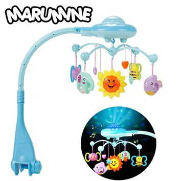 Marumine Baby Rattles Mobiles Toy Holder Rotating Crib Bed Bell With 50 Music Projection For 0-12 Months Newborn Infant